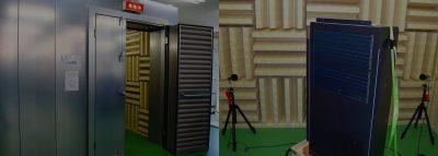 無音響室内で測定する盤の騒音試験