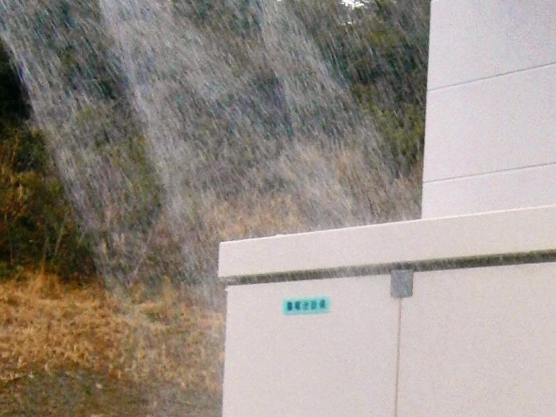 屋外盤への防水試験